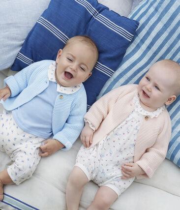 Cardigan bébé en tricot 100% coton rose Fleur