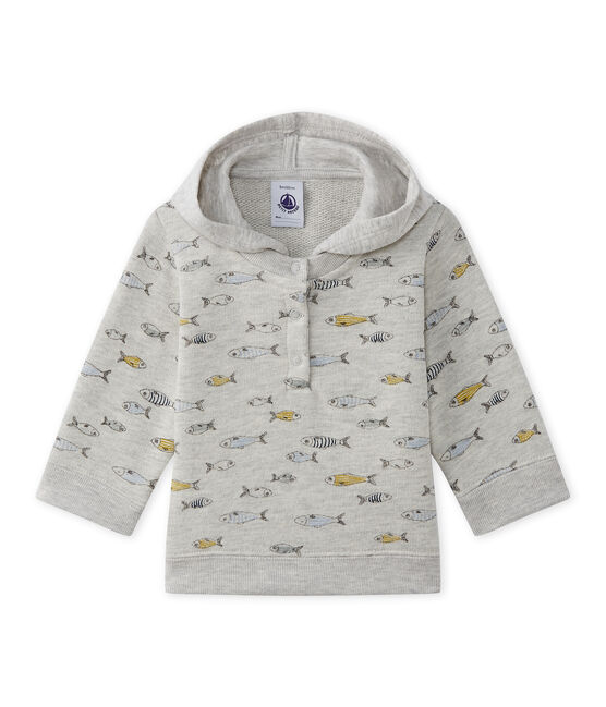 Sweat shirt à capuche bébé garçon gris Beluga / blanc Multico