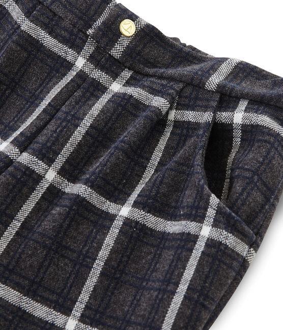 Pantalon maille à carreaux enfant fille noir City / blanc Multico