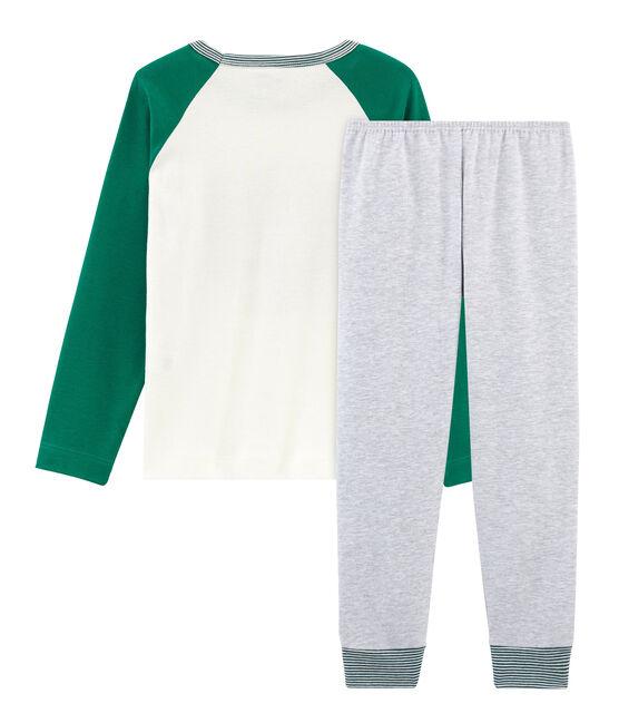 Pyjama petit garçon en côte gris Poussiere / blanc Multico