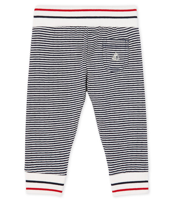 Pantalon bébé en tubique bleu Smoking / blanc Marshmallow