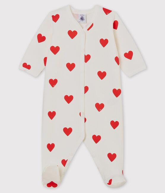 Dors-bien à cœurs rouges bébé en côte blanc Marshmallow / rouge Terkuit