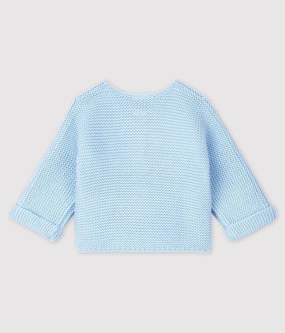 Cardigan bébé en tricot de coton biologique bleu Toudou