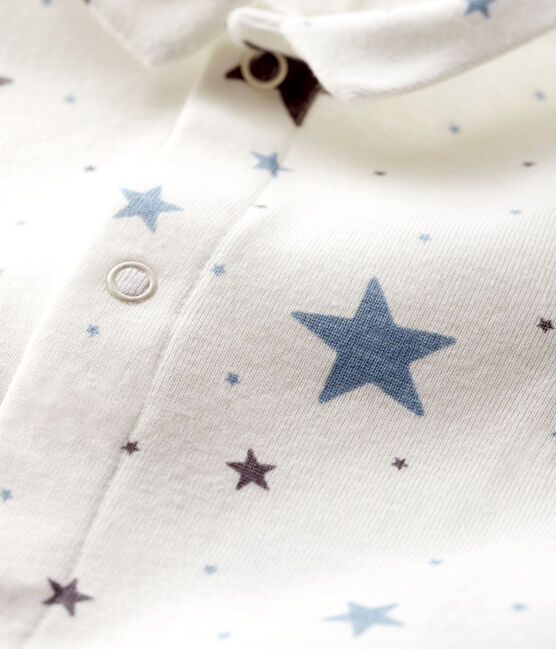 Body étoilé à col bébé garçon en côte blanc Marshmallow / blanc Multico