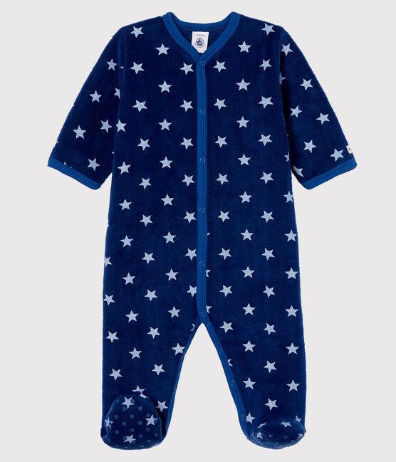 Surpyjama à étoiles bébé en polaire bleu Medieval / blanc Marshmallow