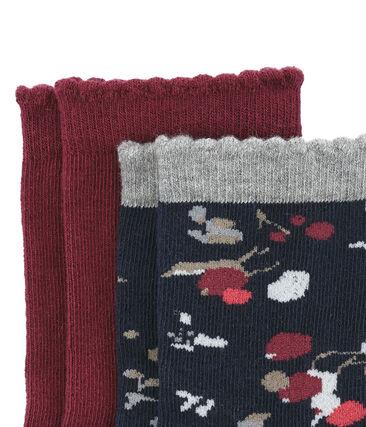 Lot de 2 paires de chaussettes colorées et à motif fleuri