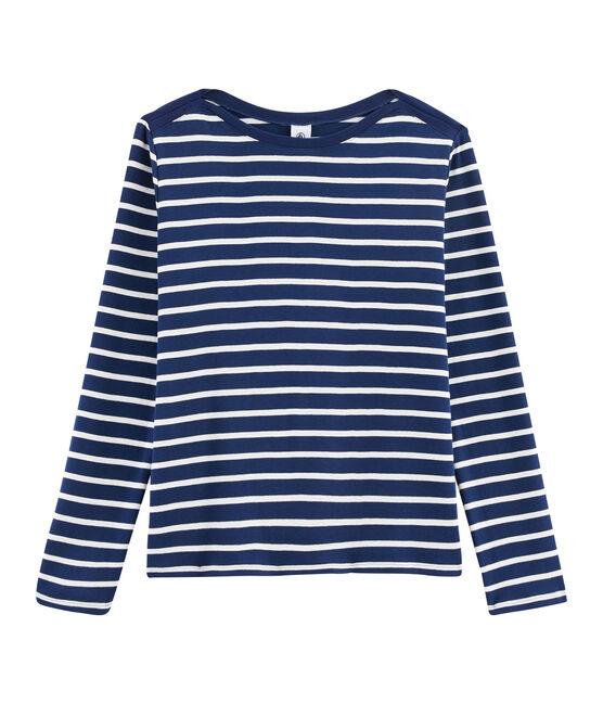 Tee shirt marinière femme bleu Medieval / blanc Marshmallow