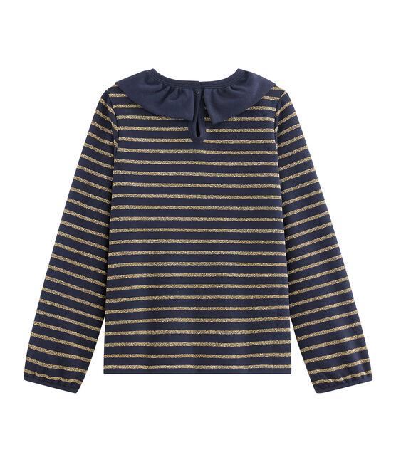Tee shirt en jersey enfant fille bleu Smoking / jaune Or