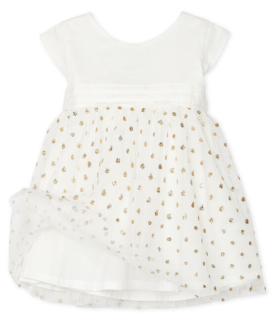 Robe bébé fille blanc Marshmallow / jaune Or