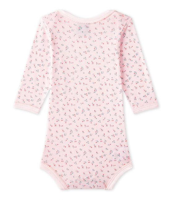Body bébé fille manches longues imprimé rose Vienne / blanc Multico