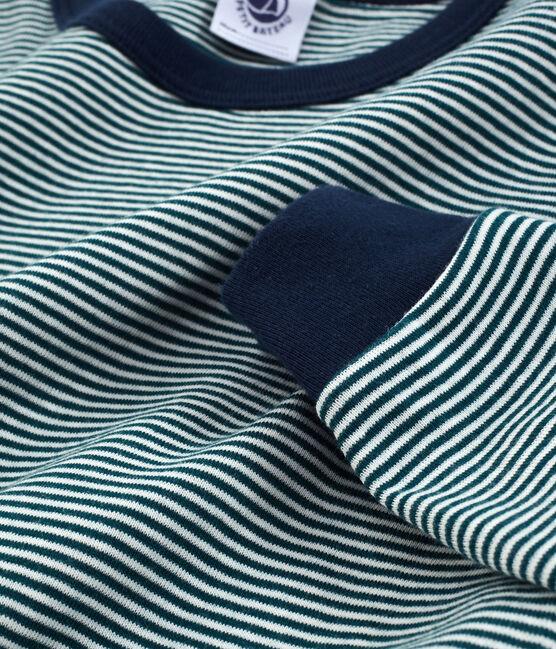Pyjama petit garçon en côte vert Pinede / blanc Marshmallow