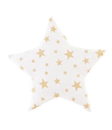 Coussin bébé en côte blanc Marshmallow / jaune Or