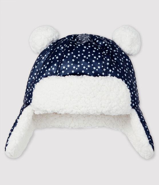 Chapka imperméable bébé garçon bleu Smoking / blanc Marshmallow