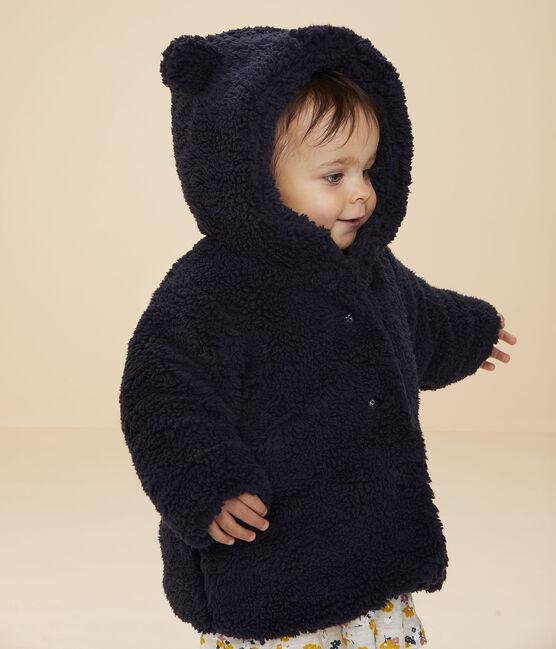 Manteau sherpa bébé fille bleu Smoking
