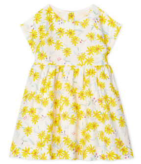 Robe manches courtes bébé fille en lin blanc Marshmallow / blanc Multico
