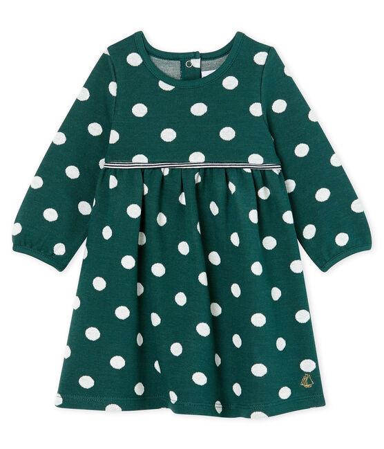 Robe manches longues bébé fille à pois vert Sousbois / blanc Marshmallow