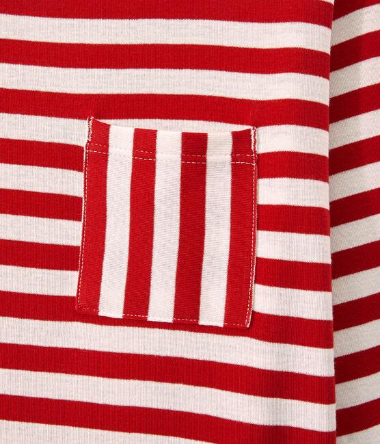 T-shirt femme manches longues en côte originale rouge Terkuit / blanc Marshmallow
