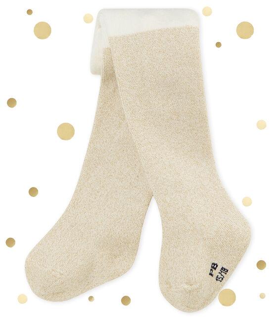 Collants brillants bébé fille blanc Marshmallow / jaune Dore