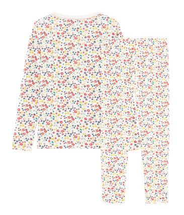 Pyjama petite fille coupe très ajustée en côte blanc Marshmallow / blanc Multico