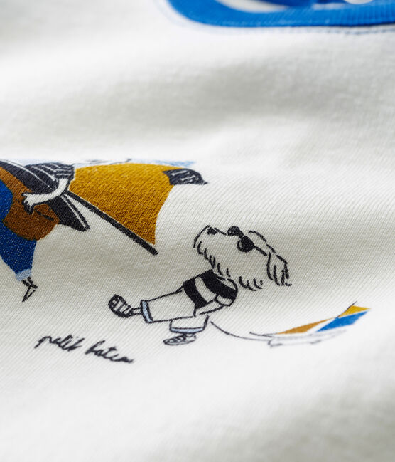 Tee-shirt manches courtes à motif bébé garçon blanc Marshmallow / bleu Toudou