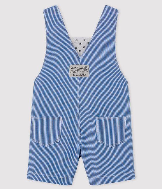 Salopette courte bébé rayée bleu Surf / blanc Ecume