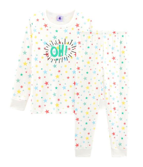 Pyjama enfant en tubique blanc Marshmallow / blanc Multico