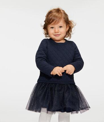 Robe manches longues bi-matière bébé fille bleu Smoking / blanc Marshmallow