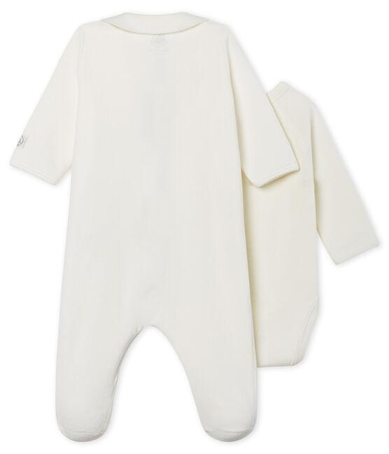 Dors-bien zippé bébé en velours blanc Marshmallow