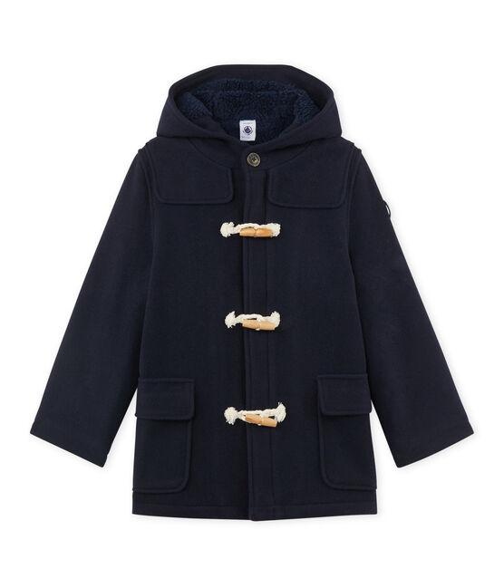 Duffle coat garçon en drap de laine doublé bleu Smoking