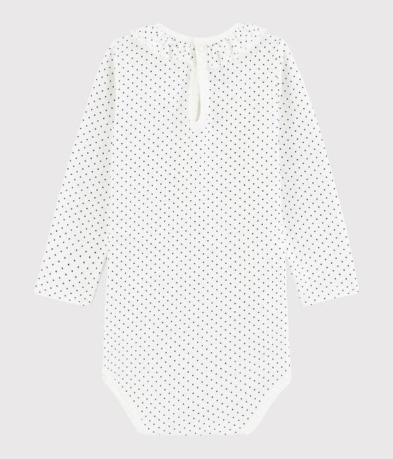 Body manches longues bébé fille blanc Marshmallow / bleu Medieval