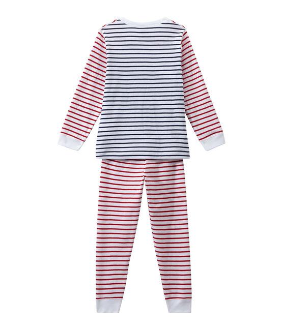 Pyjama garçon rayé blanc Ecume / blanc Multico
