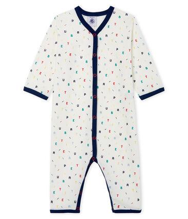 Dors bien sans pieds bébé garçon en côte blanc Marshmallow / blanc Multico Cn