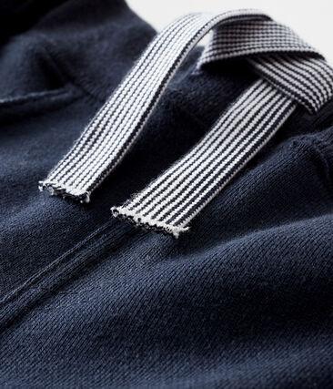 Pantalon bébé garçon en molleton uni bleu Smoking
