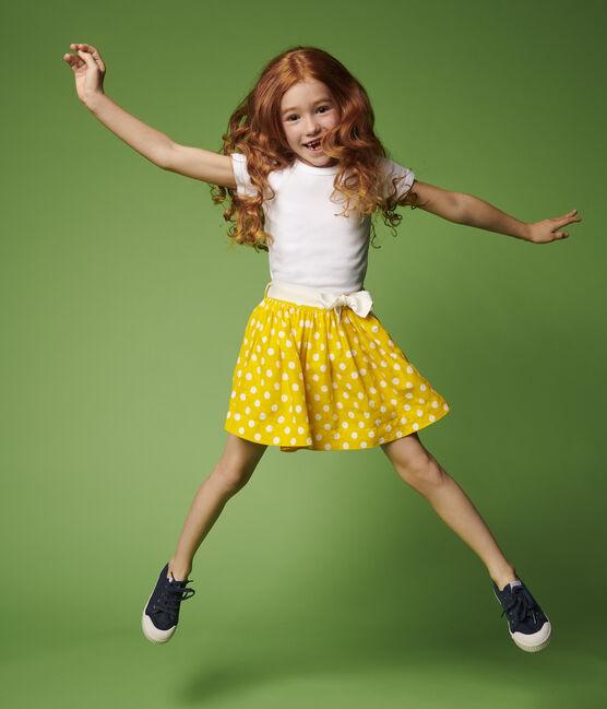 Jupe en lin enfant fille jaune Shine / blanc Marshmallow