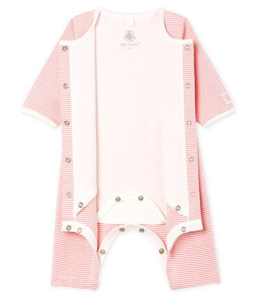 Bodyjama sans pieds bébé fille en côte rose Charme / blanc Marshmallow