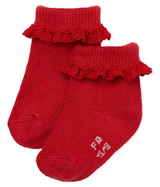 Chaussettes dentelle bébé fille rouge Terkuit