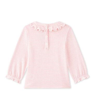 Tee-shirt bébé fille rayé blanc Marshmallow / rose Petal
