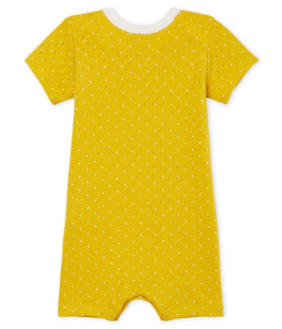 Combicourt bébé fille en côte jaune Honey / blanc Marshmallow