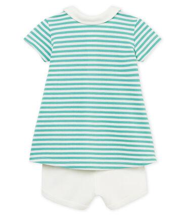 Robe polo manches courtes rayée bébé fille et short