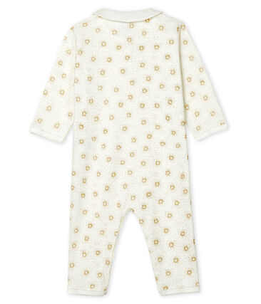 Dors bien sans pieds bébé fille en côte blanc Marshmallow / jaune Or
