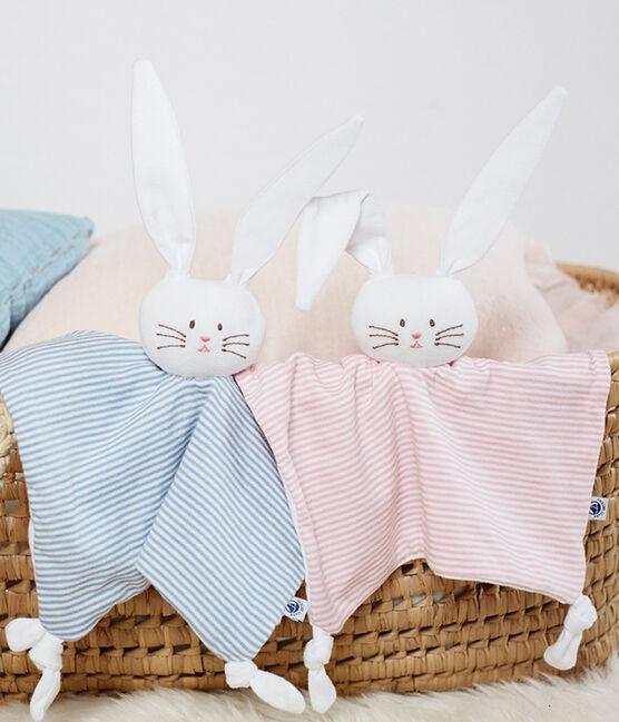 Doudou lapin bébé en côte bleu Acier / blanc Marshmallow