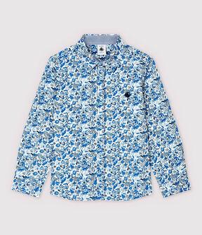 Chemise en popeline enfant garçon blanc Marshmallow / blanc Multico