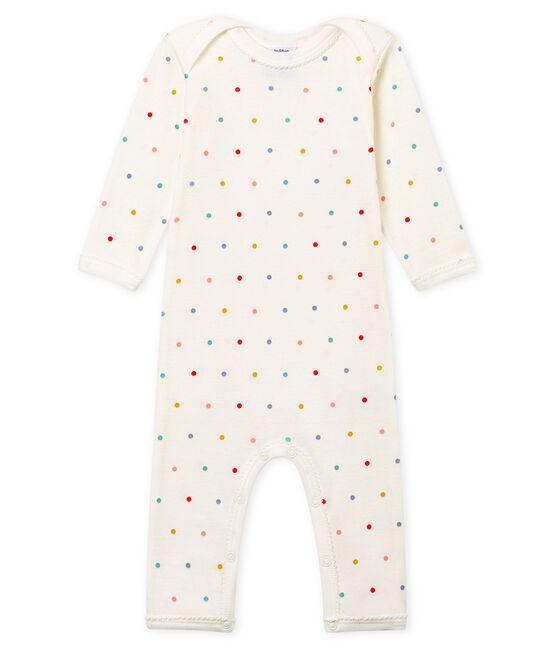 Body jambes longues bébé fille en côte blanc Marshmallow / blanc Multico