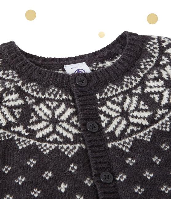 Cardigan jacquard bébé garçon en laine mélangée gris Capecod / blanc Multico
