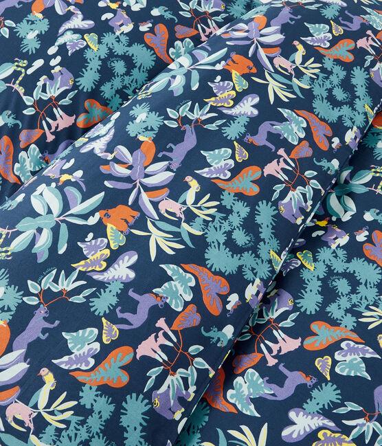 Parure de lit imprimée jungle en popeline bleu Medieval / blanc Multico