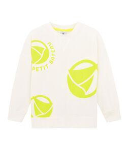 Sweat shirt enfant garçon blanc Marshmallow / jaune Eblouis