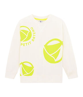 Sweat shirt enfant fille - garçon blanc Marshmallow / jaune Eblouis