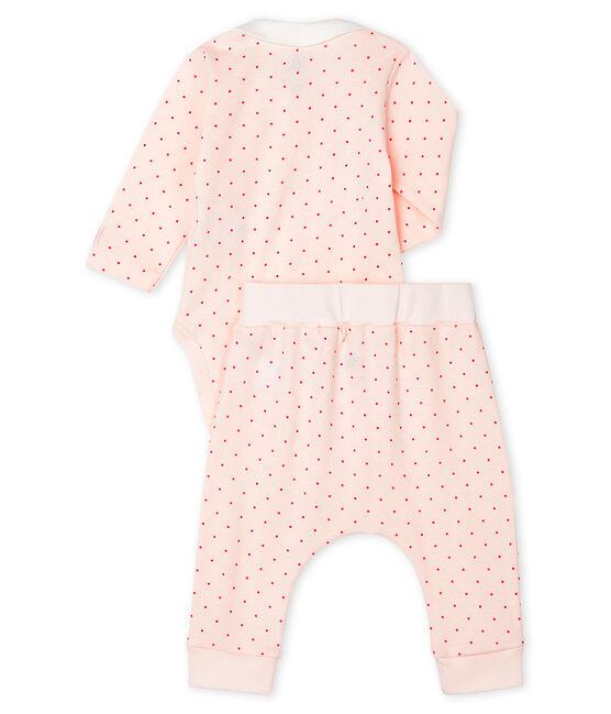 Ensemble 2 pièces bébé fille en côte rose Fleur / rose Geisha