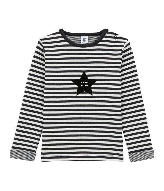tee-shirtmanches longues garçon en double jersey noir City / blanc Marshmallow