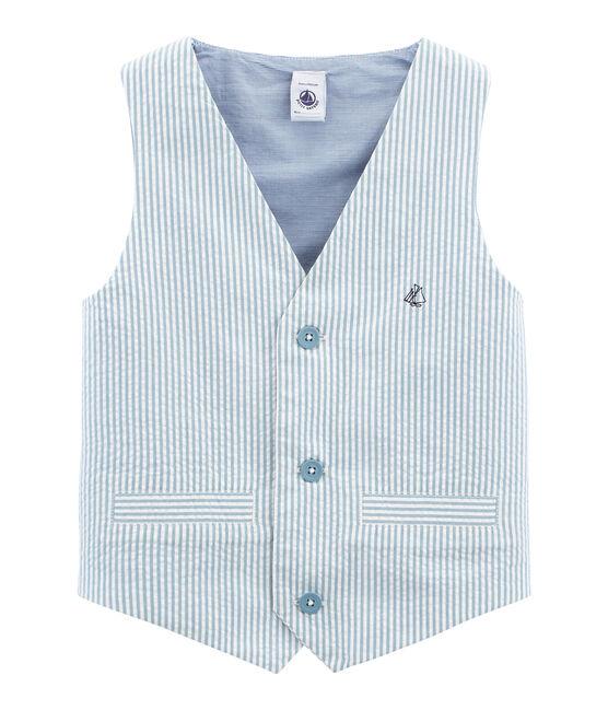 Gilet sans manches garcon bleu Fontaine / blanc Marshmallow